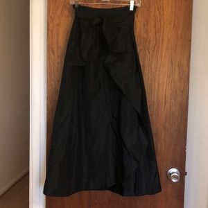 Ann Taylor formal black taffeta long skirt w/belt